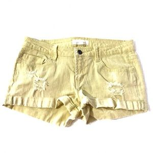 4/$25 Forever 21 Yellow Distressed Cuffed Shorts